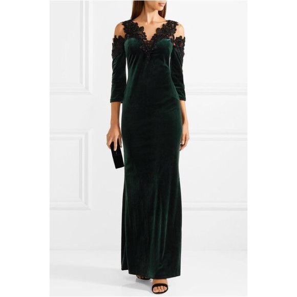 Marchesa Notte Embroidered Velvet Illusion Gown 6656ec1a2